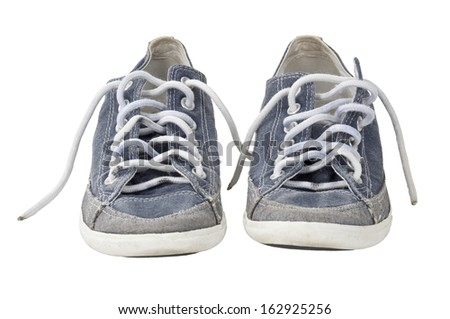 Isolated sport shoe pair with clipping path