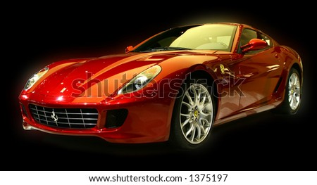 Isolated sports car. Submitted as editorial. Part of a series of cars approved in my gallery. - stock photo