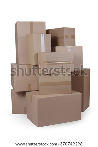 Isolated stacked cardboard boxes with clipping path