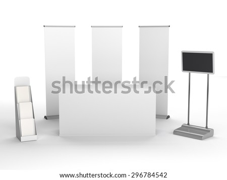 isolated stall in exhibition with tv display - stock photo