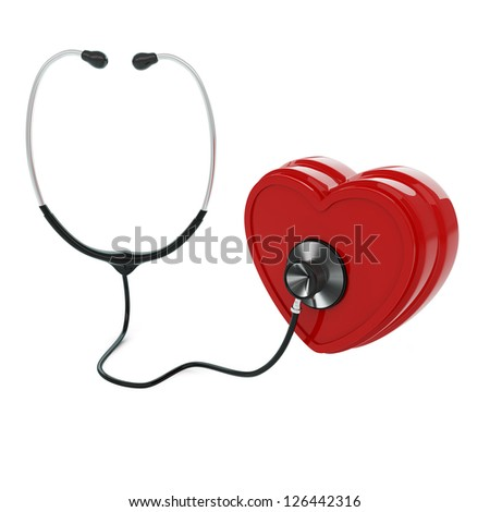 Isolated stethoscope examing heart on white background - stock photo