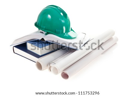 isolated still life with an equipment of architecture's student - stock photo