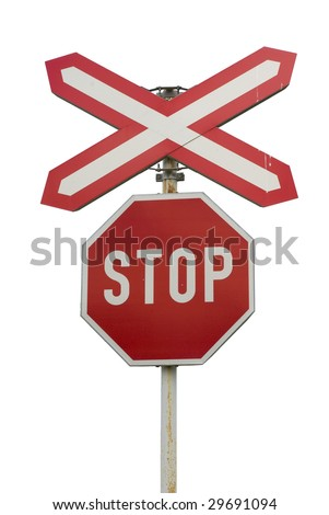 "Isolated ""Stop"" sign with pole near railroad (real photo). - stock photo"