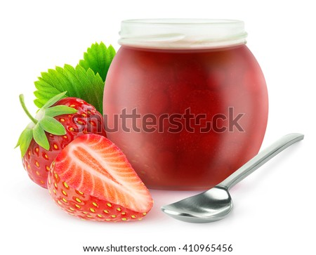 Isolated strawberry marmalade. Cut strawberry fruits and open jam jar, isolated on white background with clipping path - stock photo