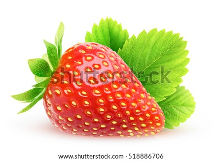 Isolated strawberry. One strawberry fruit with leaf isolated on white background with clipping path