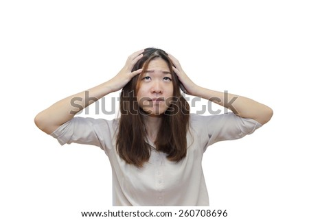 isolated stress asian woman  in white background - stock photo