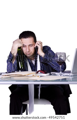 Isolated Stressed Businessman At His Desk Working - White Background