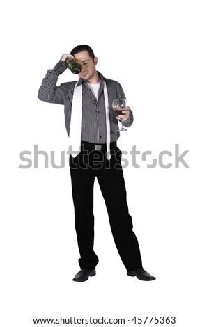 Isolated Stressed Businessman Drinking with a bottle and glass in hand