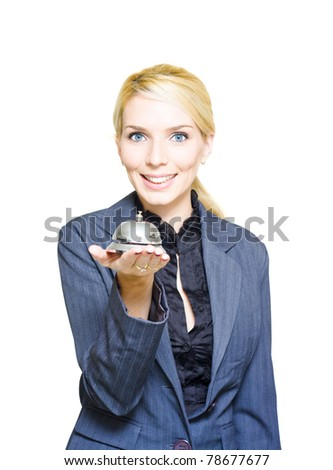 Isolated Studio Photo Of A Confident Hotel Concierge Worker Holding Shiny Desk Service Bell In Announcement And Message Of Help Guidance Support And Assistance - stock photo