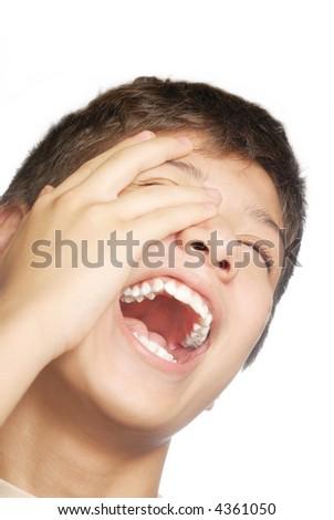Isolated studio photo of laughing boy on the white background - stock photo
