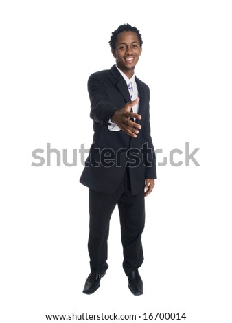 Isolated studio shot of a businessman reaching out to shake hands.