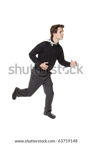 Isolated studio shot of a businessman running - stock photo