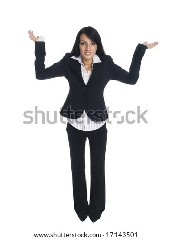 Isolated studio shot of a businesswoman - stock photo