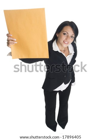 Isolated studio shot of a businesswoman holding up a letter that just arrived. - stock photo