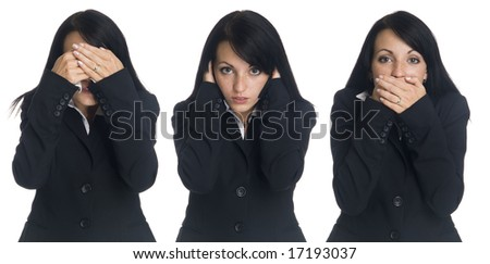 Isolated studio shot of a businesswoman in the See No Evil, Hear No Evil, Speak No Evil pose.