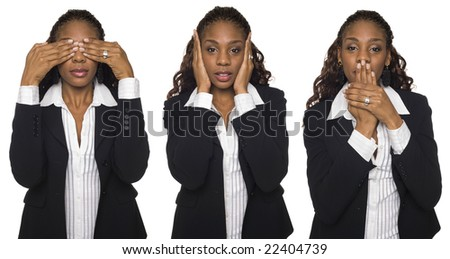Isolated studio shot of a businesswoman in the See No Evil, Hear No Evil, Speak No Evil poses. - stock photo