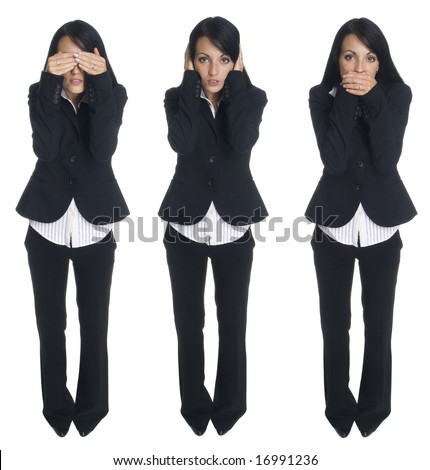 Isolated studio shot of a businesswoman in the Speak No Evil, Hear No Evil, Speak No Evil poses. - stock photo