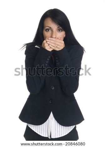 Isolated studio shot of a businesswoman in the Speak No Evil pose. - stock photo