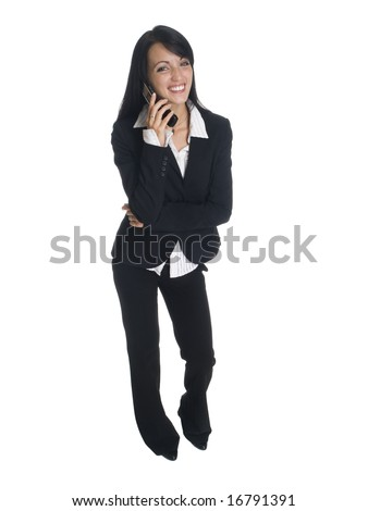 Isolated studio shot of a businesswoman laughing while talking on her cell phone. - stock photo
