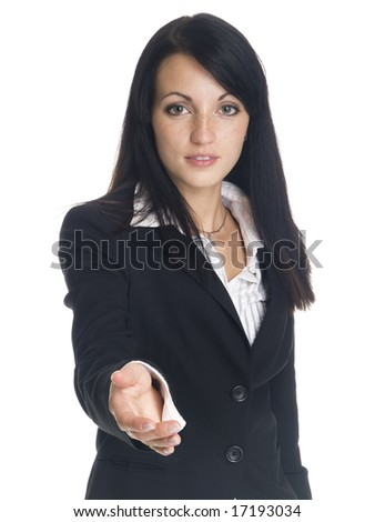 Isolated studio shot of a businesswoman reaching out to shake your hand. - stock photo