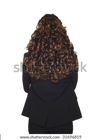 Isolated studio shot of a businesswoman's pretty hair viewed from behind - stock photo