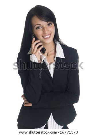 Isolated studio shot of a businesswoman smiling while talking on her cell phone. - stock photo