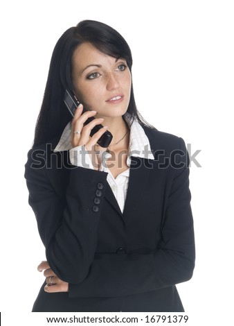 Isolated studio shot of a businesswoman talking on her cell phone. - stock photo