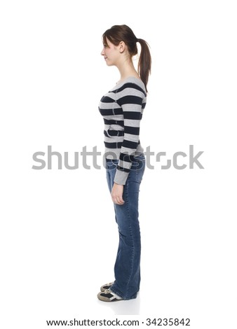 Isolated studio shot of a casually dressed young adult woman rotating through 360 degrees (part of a series)