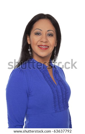 Isolated studio shot of a happy Latina woman with dental braces smiling while looking at the camera. - stock photo