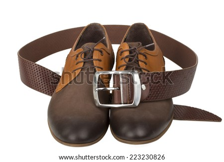 isolated stylish leather men's dress shoes and belt - stock photo