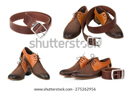 isolated stylish leather men's dress shoes and belt.  collage - stock photo