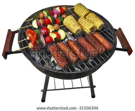 isolated summer patio barbecue isolated with clipping path - stock photo