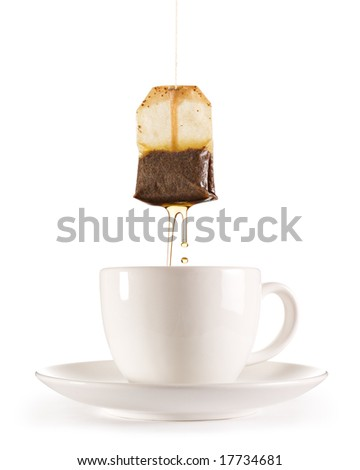 Isolated tea with teabag - stock photo
