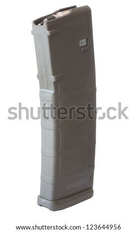 Isolated thirty round magazine that goes into a modern assault rifle - stock photo