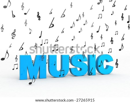 isolated three dimensional music word with flying musical notes - stock photo