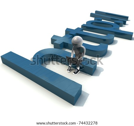 isolated three-dimensional programmer sitting on the letter with notebook - stock photo