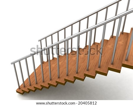 isolated three dimensional stairs against white background - stock photo