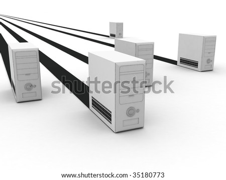 isolated three dimensional view of white cpu with black stripes - stock photo