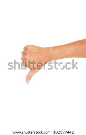 isolated thumbs down male hand on white, for defeated or not good hand gestures. Clipping path of hand outline is in jpg.