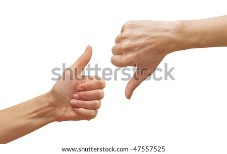 isolated thumbs up and thumbs down - stock photo