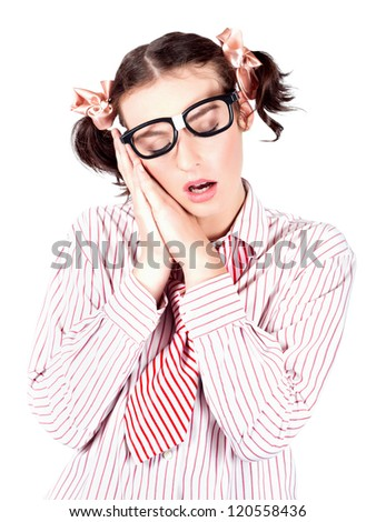 Isolated Tired And Exhausted Businesswoman Sleeping With Her Mouth Open And Eyes Shut In A Depiction Of A Business Dream Over White Background - stock photo