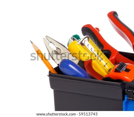 isolated tool box on white - stock photo