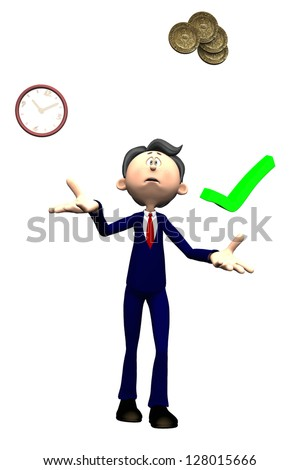 Isolated toon project manager figure with worried expression juggling time cost and quality - stock photo
