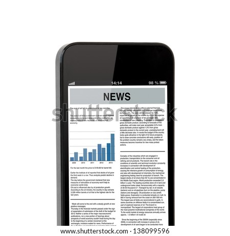 Isolated touch phone with the business news on the screen - stock photo