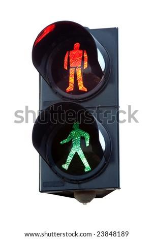 isolated traffic light - stock photo