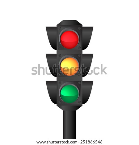 Isolated traffic light  - stock photo