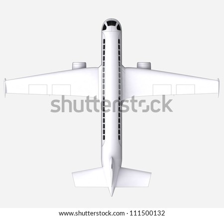 isolated travel airplane flight concept  in perspective top view on white background render illustration - stock photo