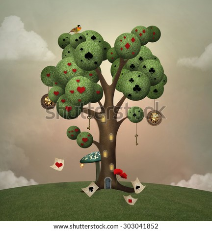 Isolated tree on an hill with symbols and objects inspired by Alice in wonderland fairytale - stock photo