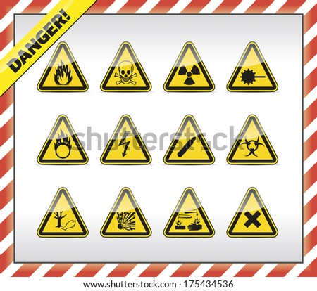 Isolated triangle, yellow Danger symbol - sign collection with shadow and red-white border. - stock photo