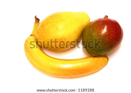Isolated tropical fruit, mango, papaya & banana